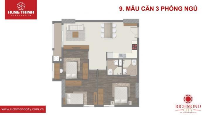 Căn hộ richmond city 3 phòng ngủ