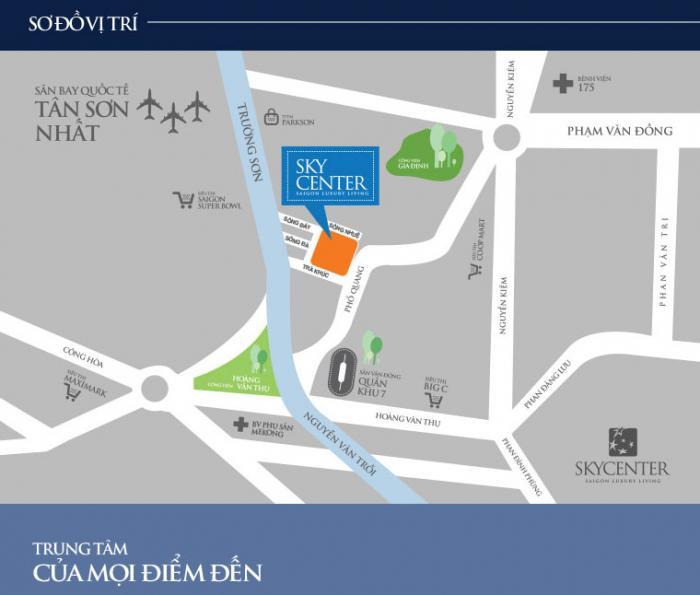 Vị trí căn hộ office tel Sky Center