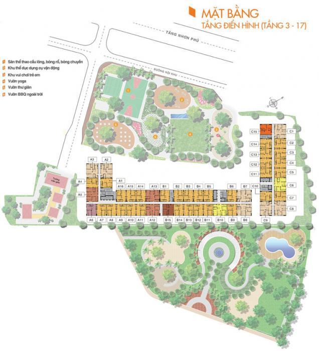 Mặt bằng tổng thể căn hộ 9 view quận 9