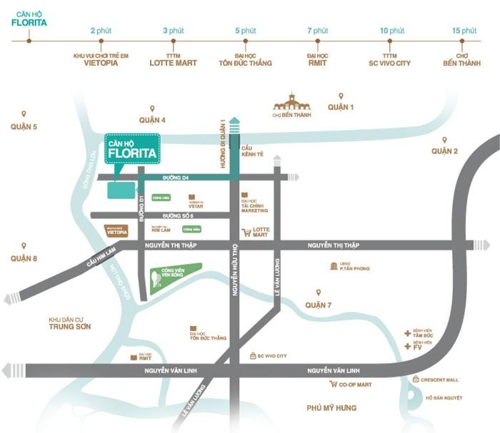 Vị trí căn hộ Florita Him Lam Quận 7