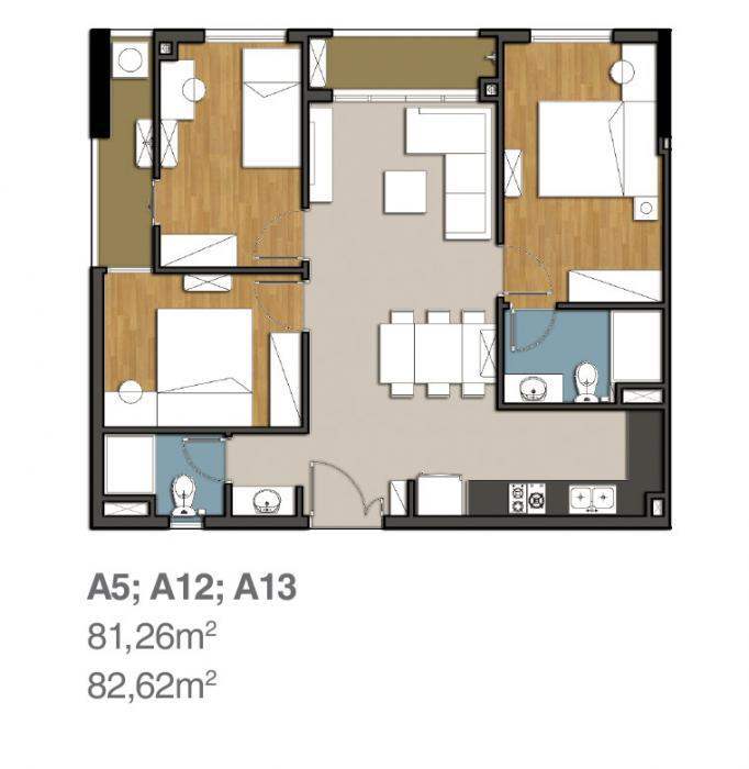 Mẫu thiết kế căn hộ 9 view 3PN